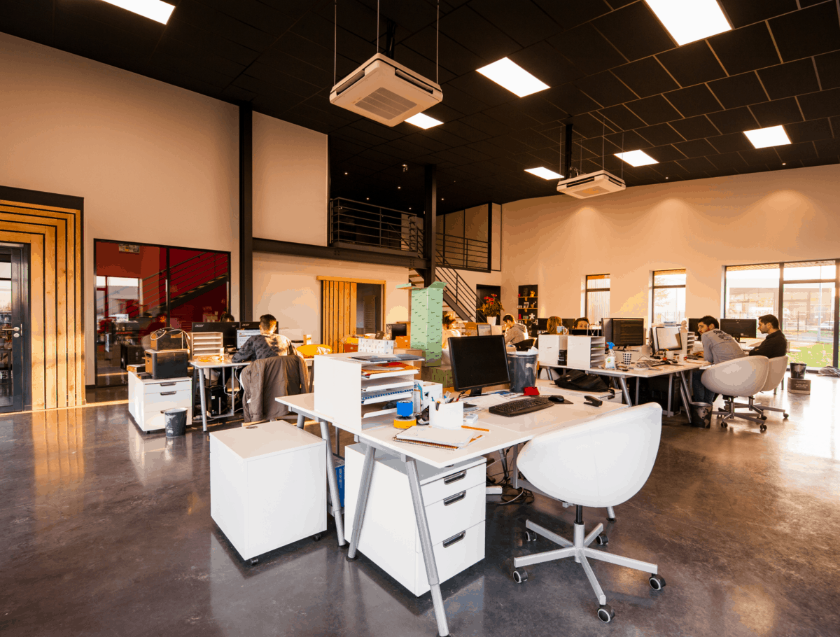 Open office space with employees