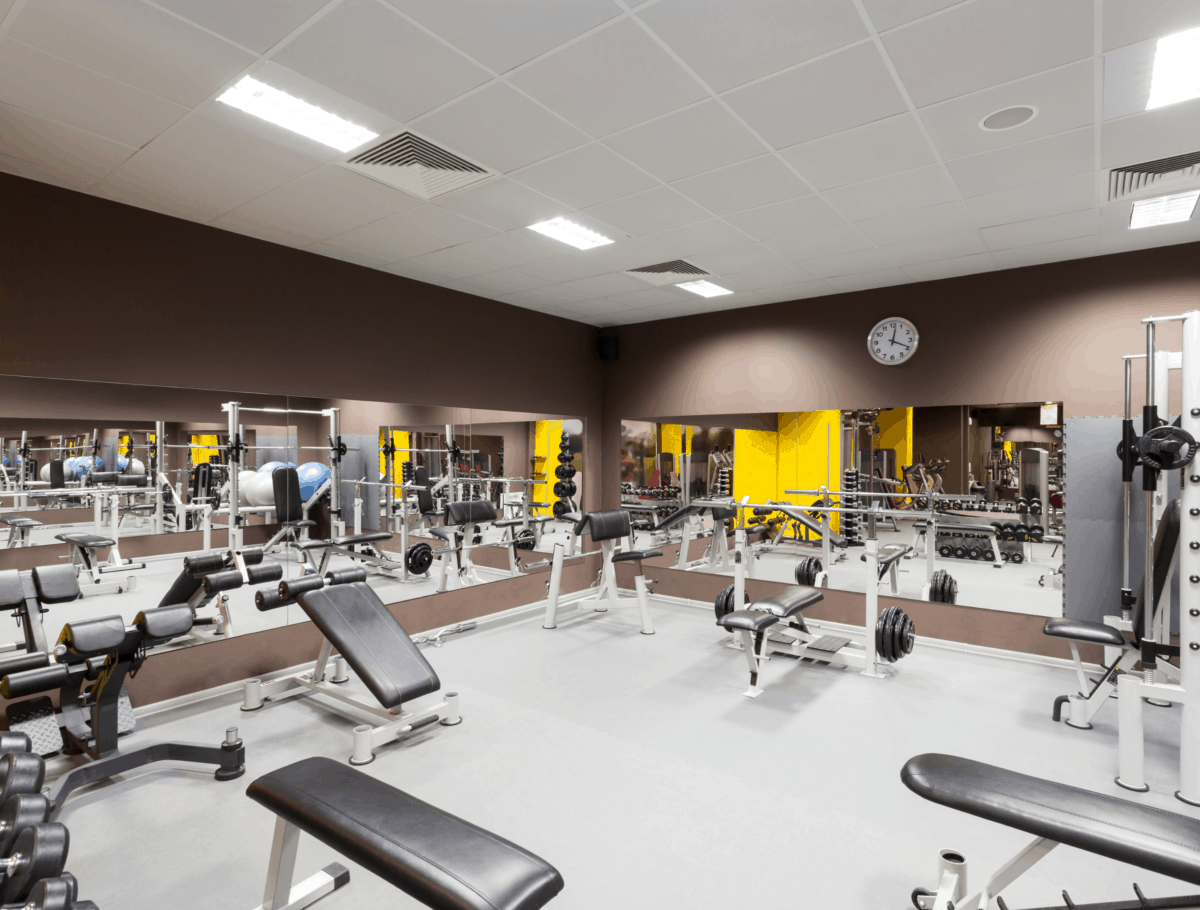 Gym equipment with an open space
